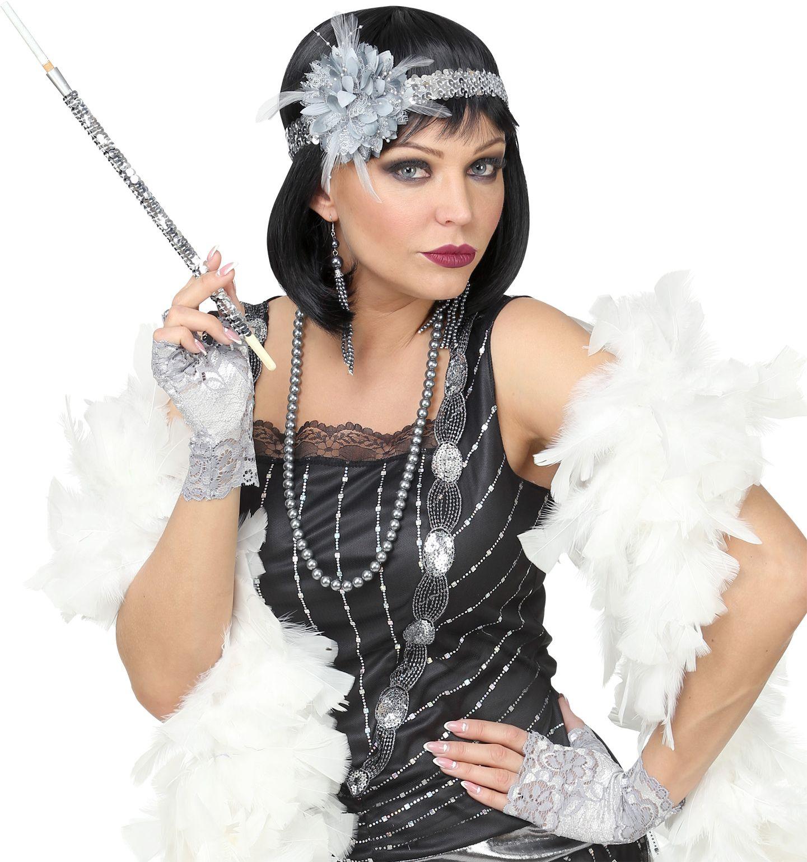 20s flapper accessoires grijs vrouwen