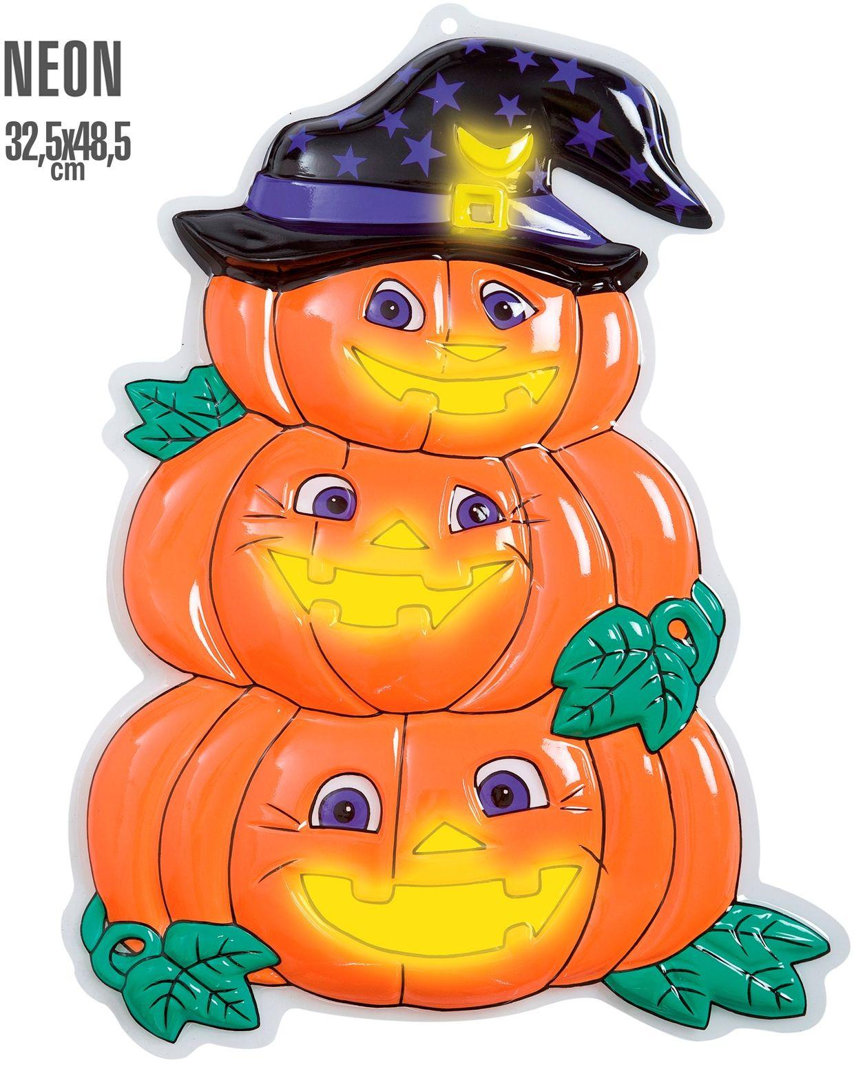 3D halloween neon pompoen trio met hoed