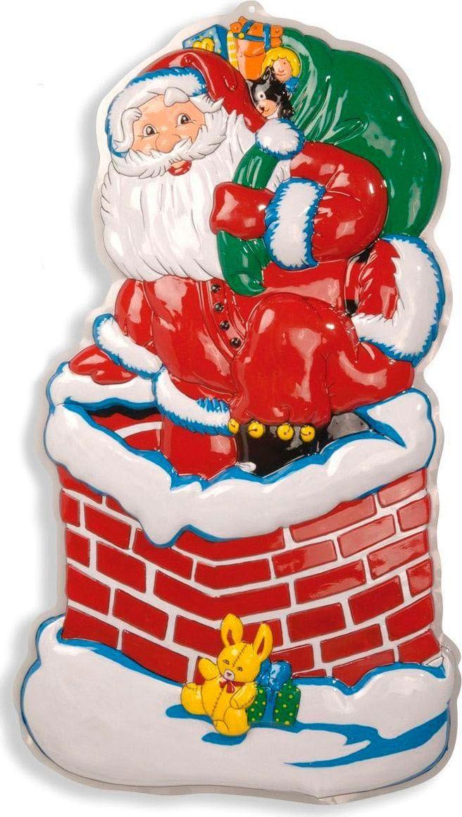 3D kerstman in schoorsteen versiering