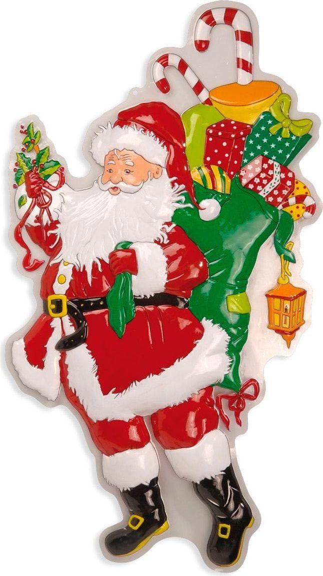 3D kerstman met zak en laurier versiering