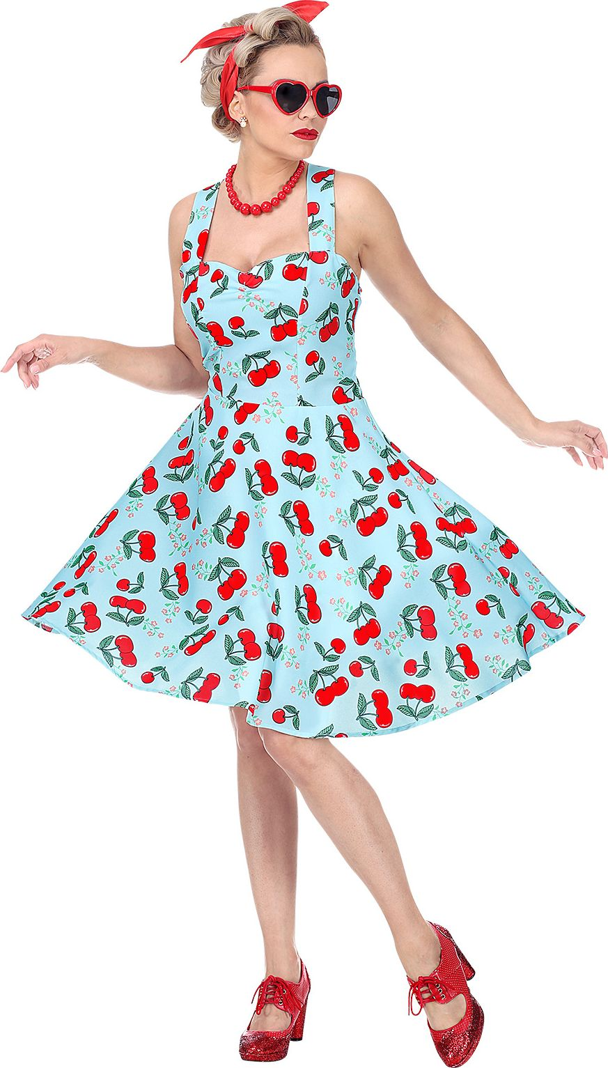 50s blauw vrouwen jurkje kersen