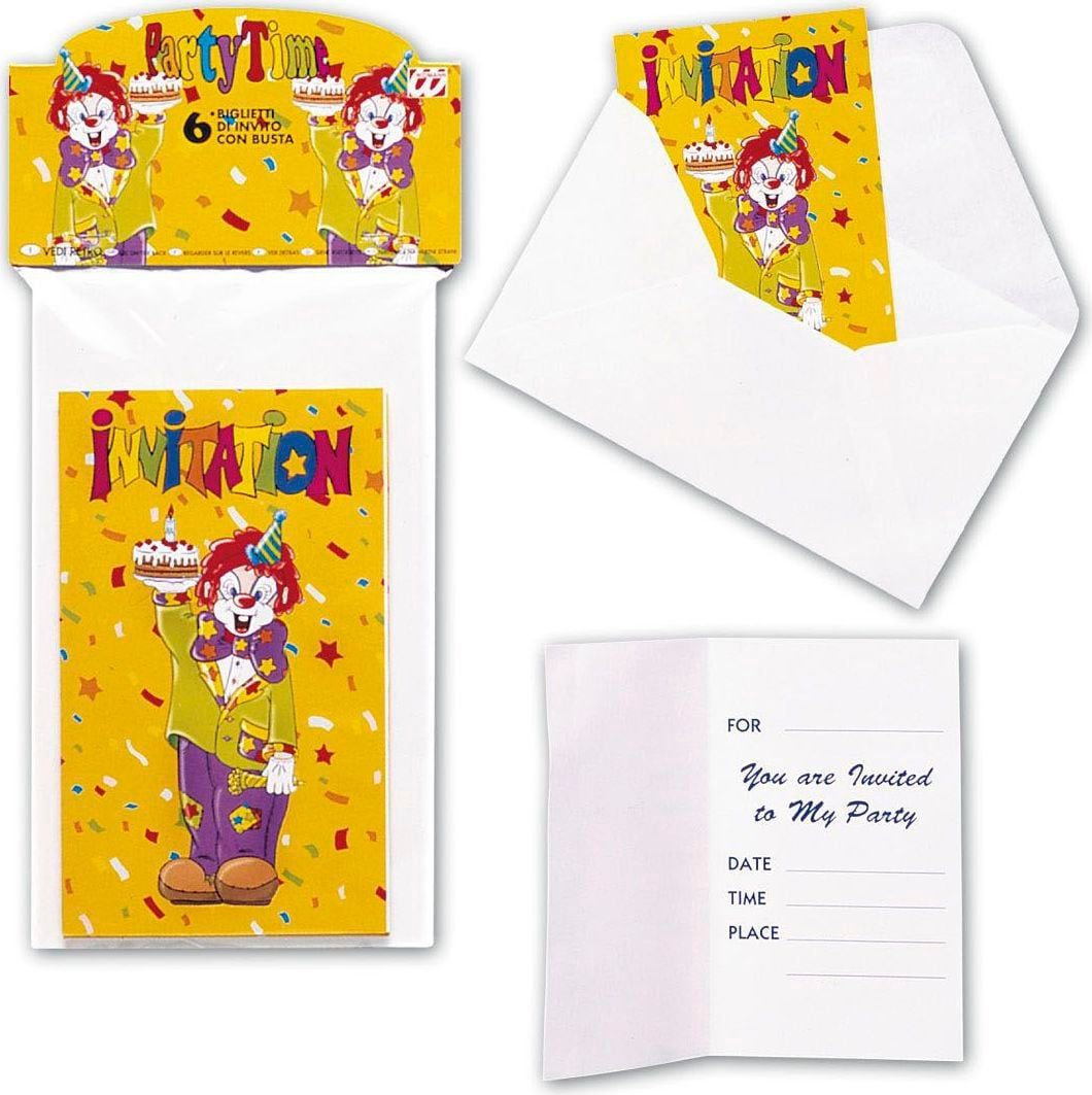 6 Clowns invitatiekaarten met envelop
