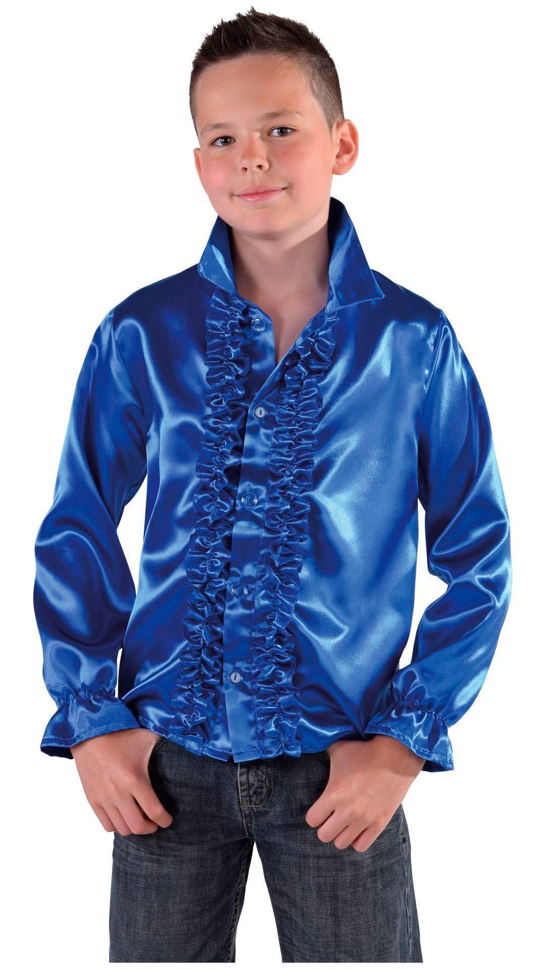 60s blouse blauw jongens/meisjes