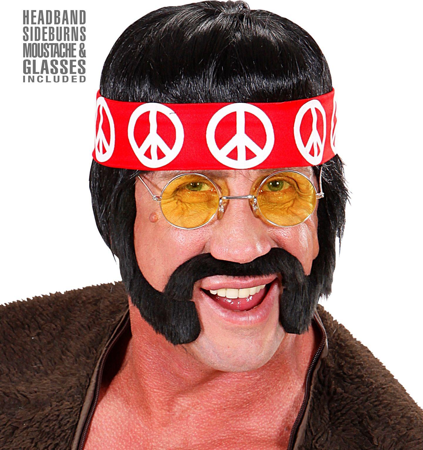60s hippie pruik zwart