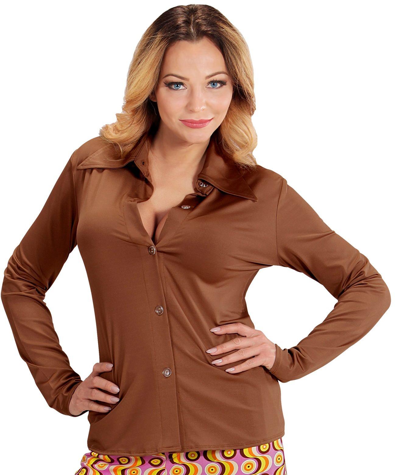 70s blouse dames bruin