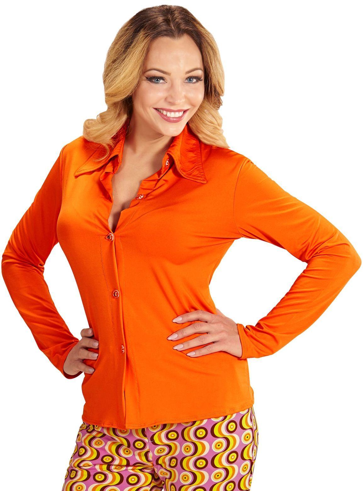 70s blouse dames oranje