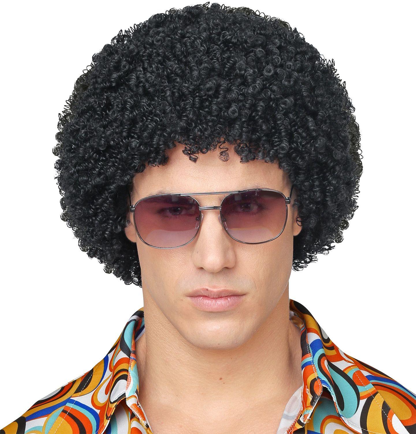 70s disco afro pruik zwart
