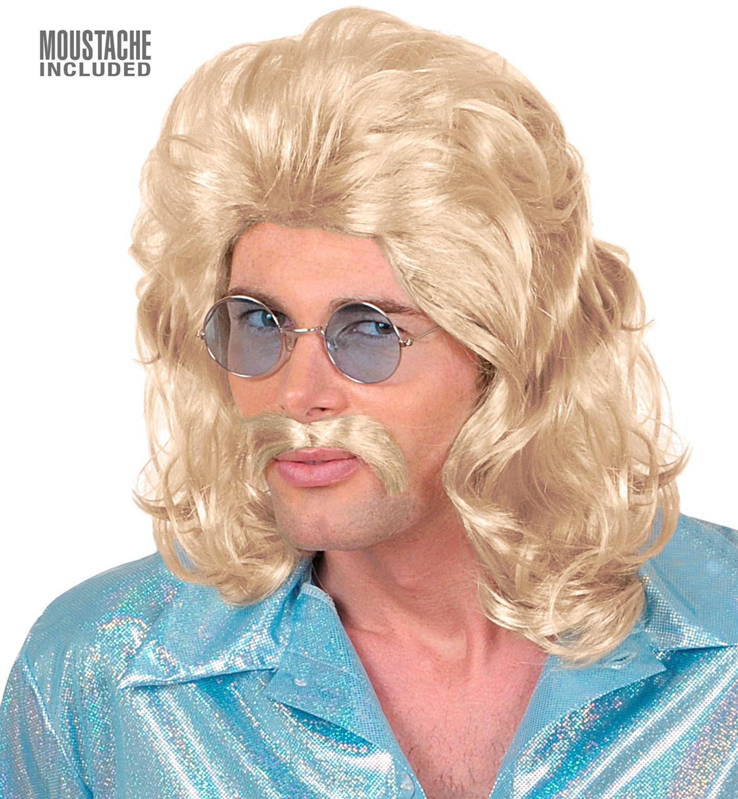 70's pruik met snor blond