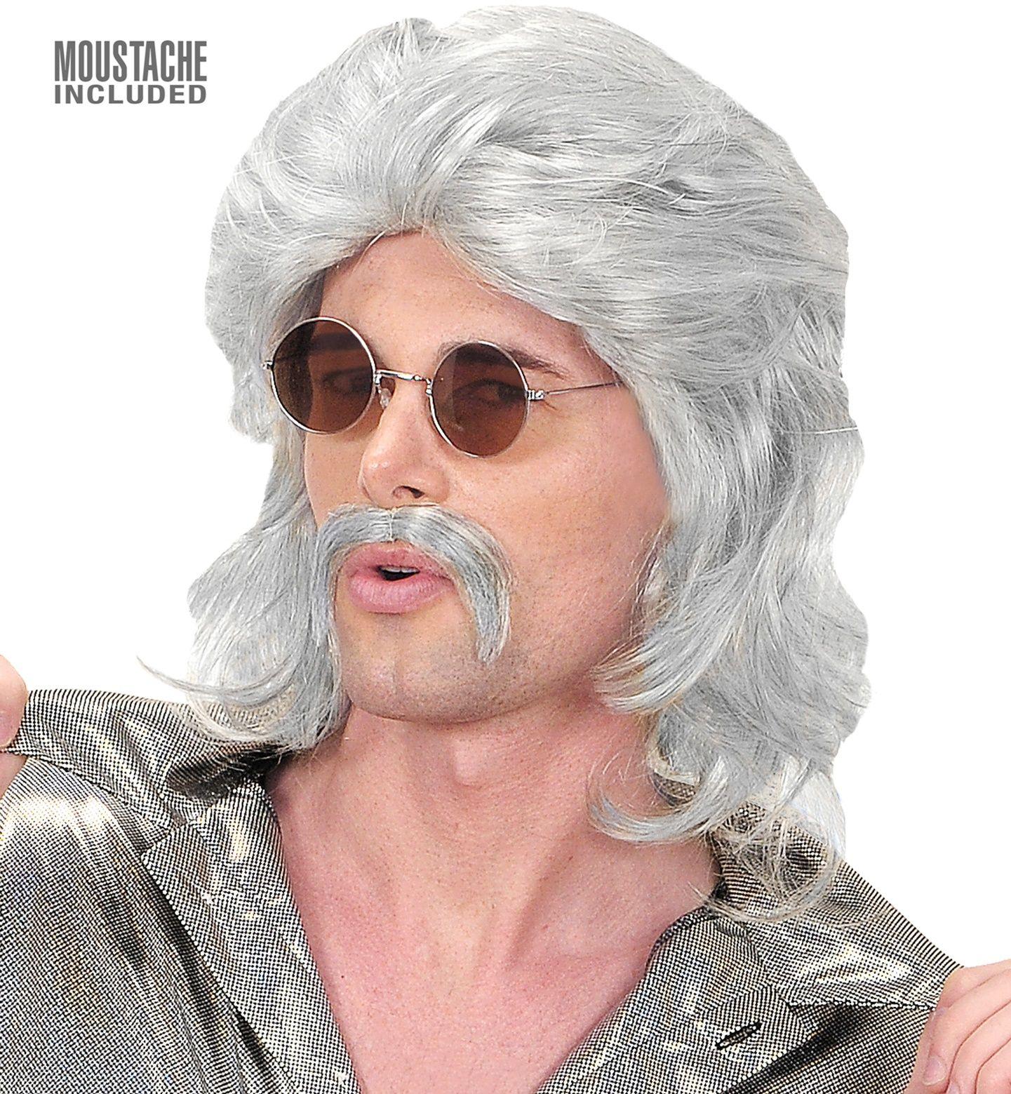 70's pruik met snor grijs