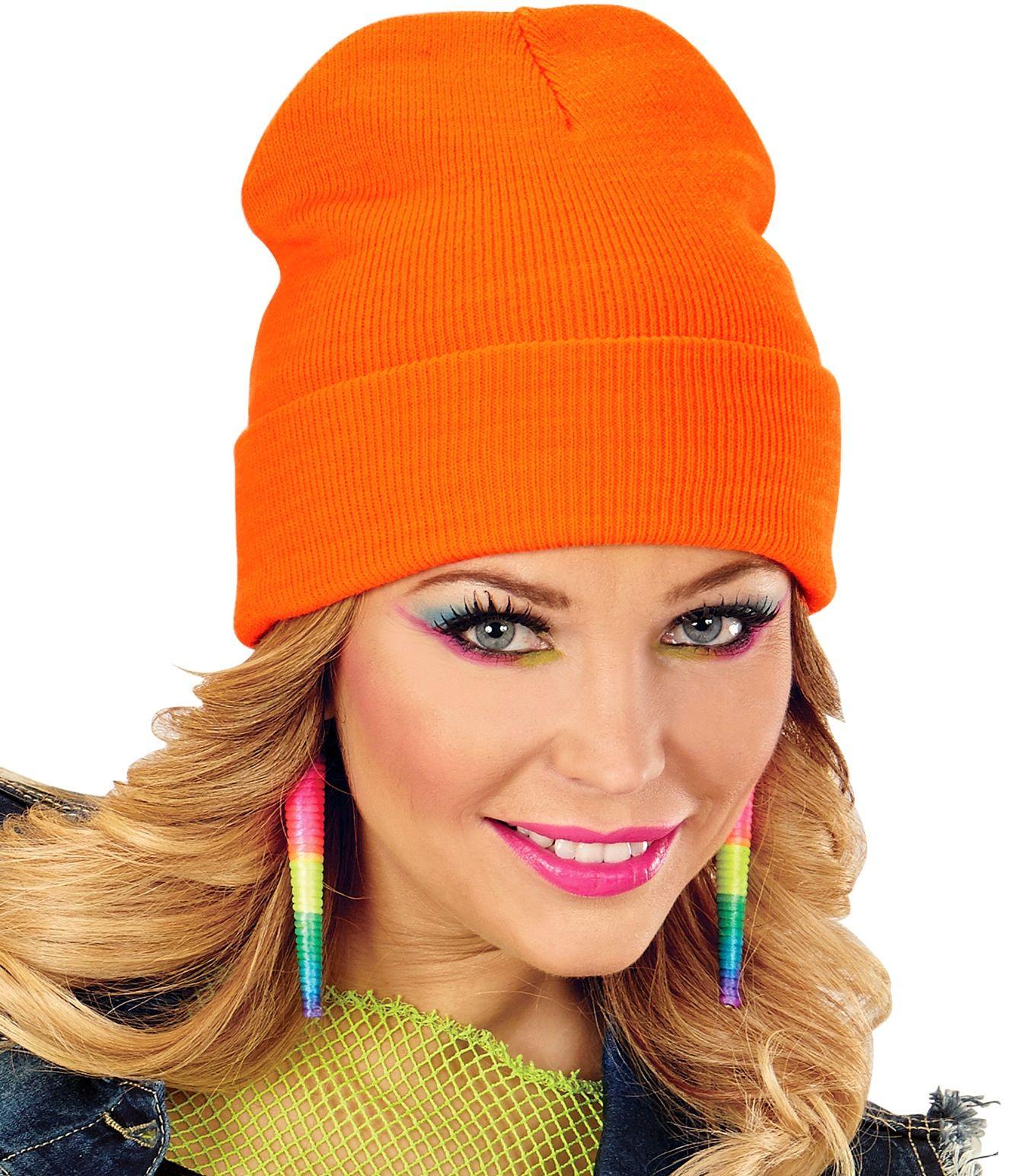 80s muts neon oranje