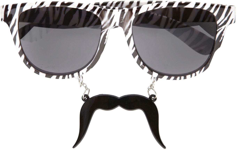 80s zebra print bril met snor