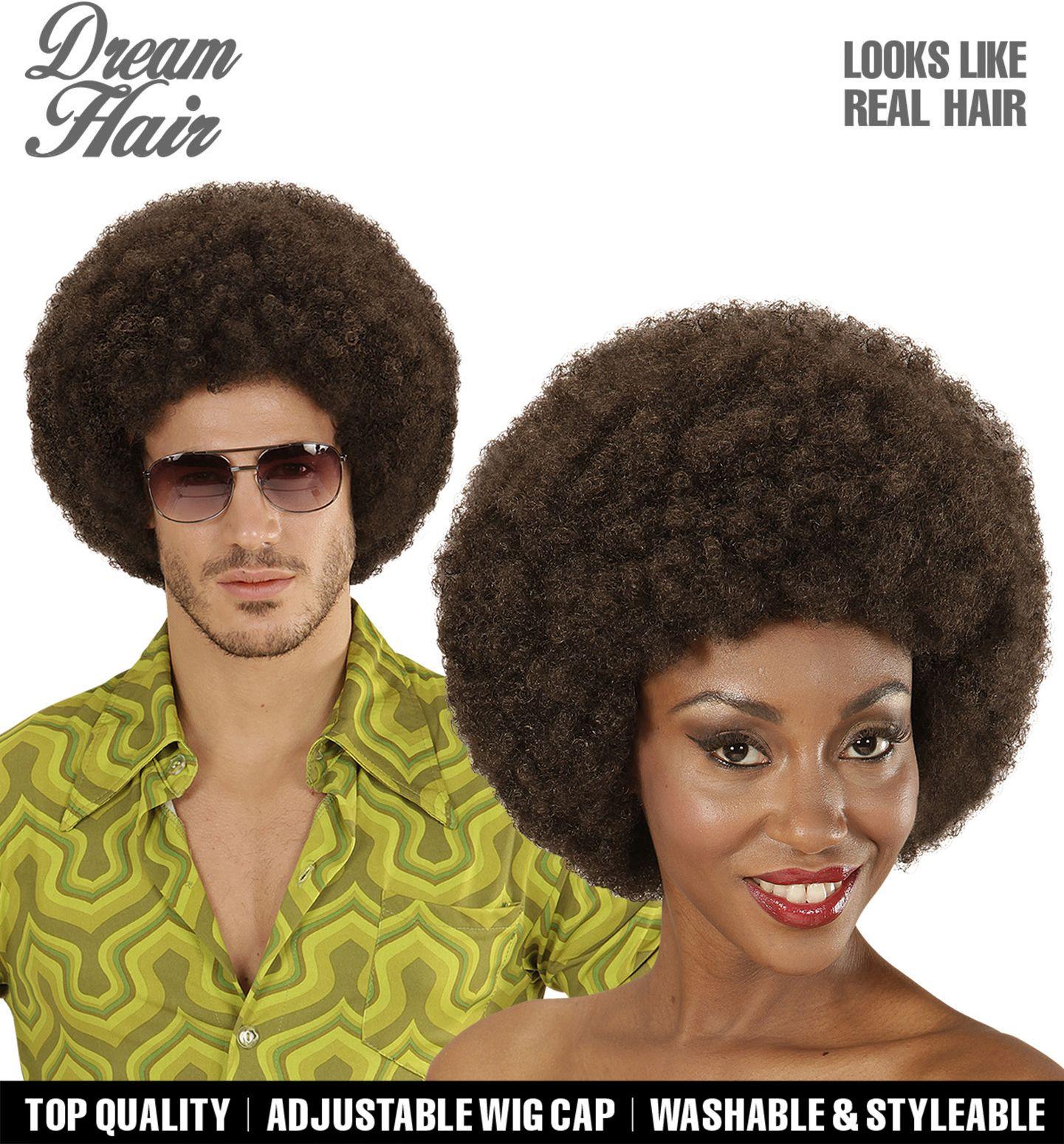 Afro pruik bruin