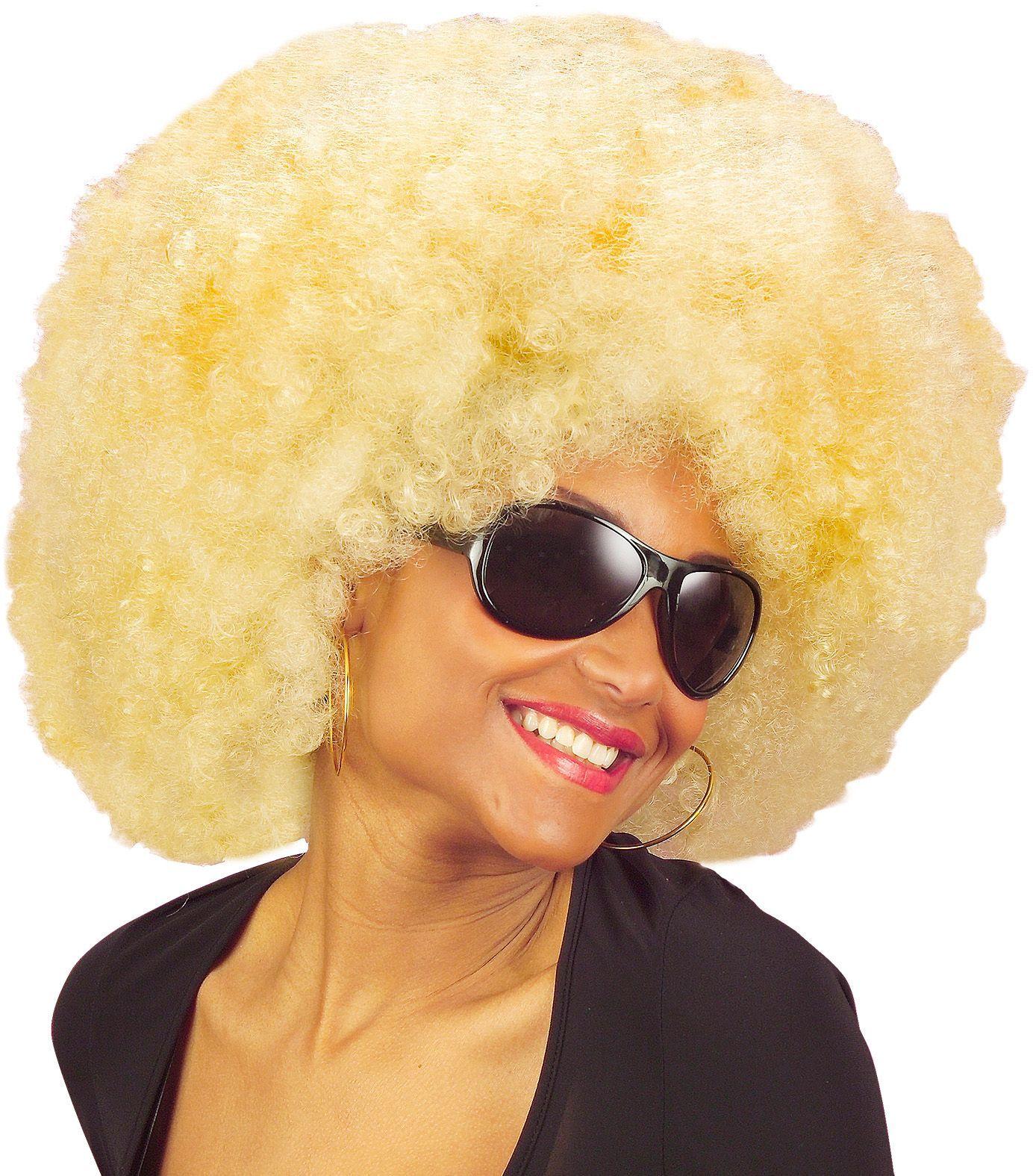 Afro pruik met krullen blond