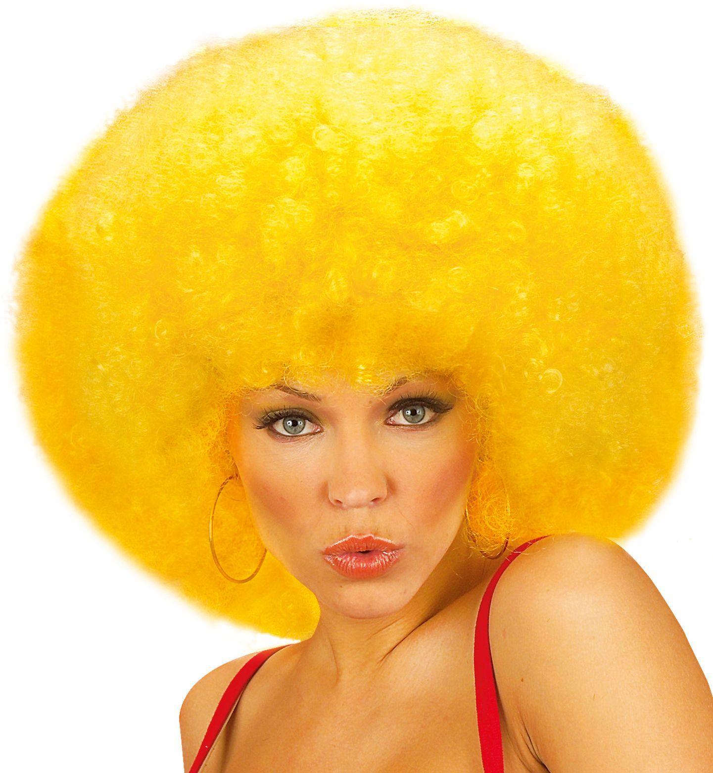 Afro pruik met krullen geel