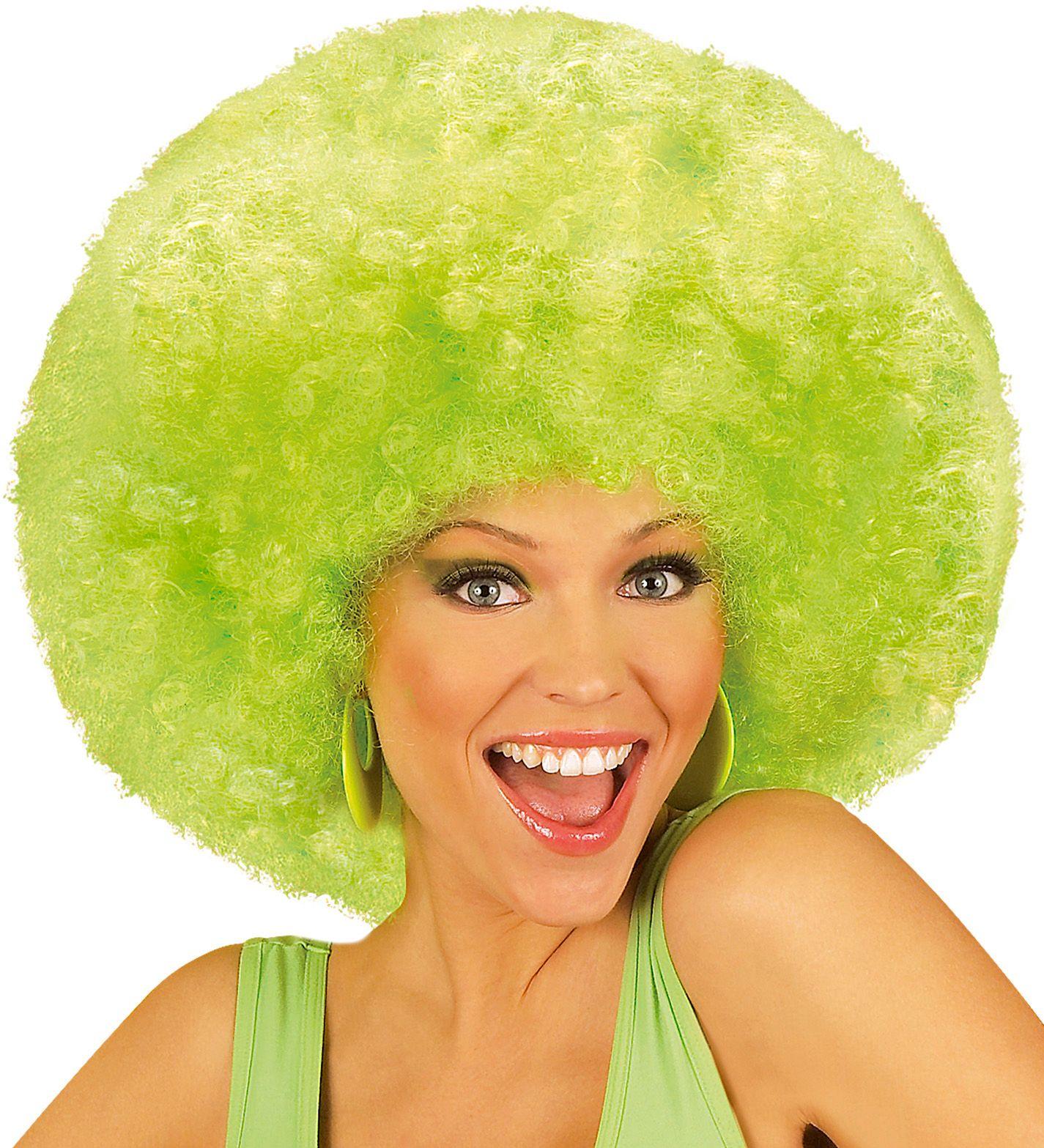 Afro pruik met krullen groen