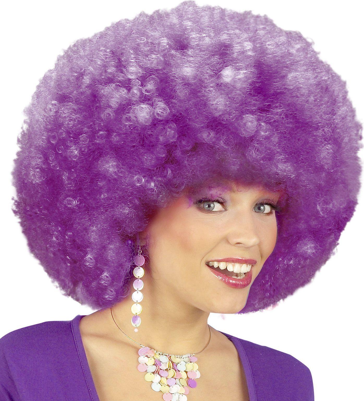 Afro pruik met krullen paars
