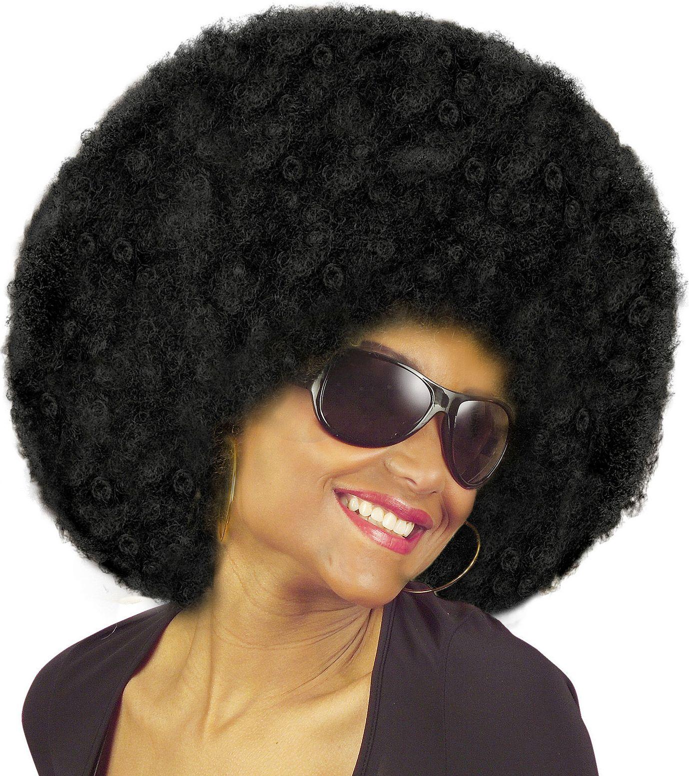 Afro pruik met krullen zwart