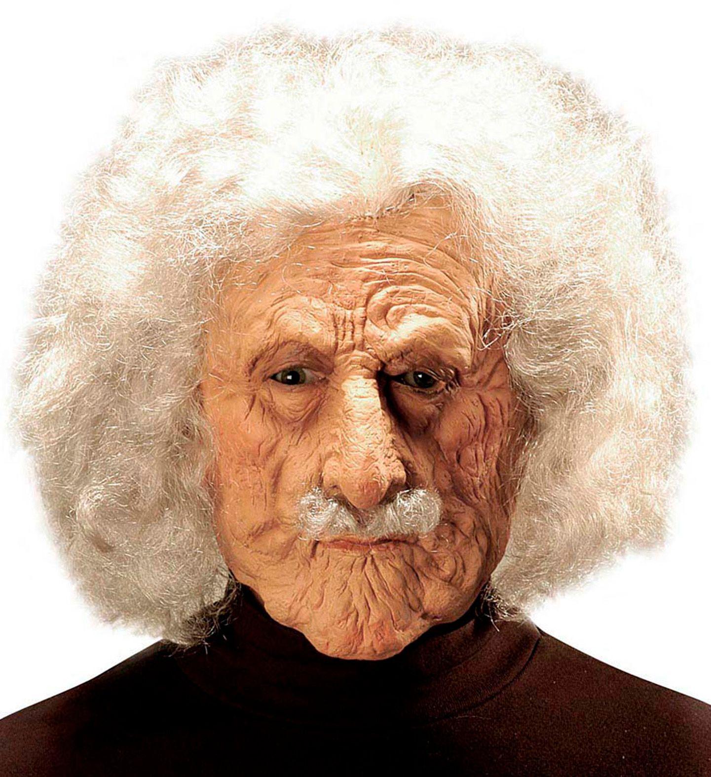 Albert Einstein masker met pruik
