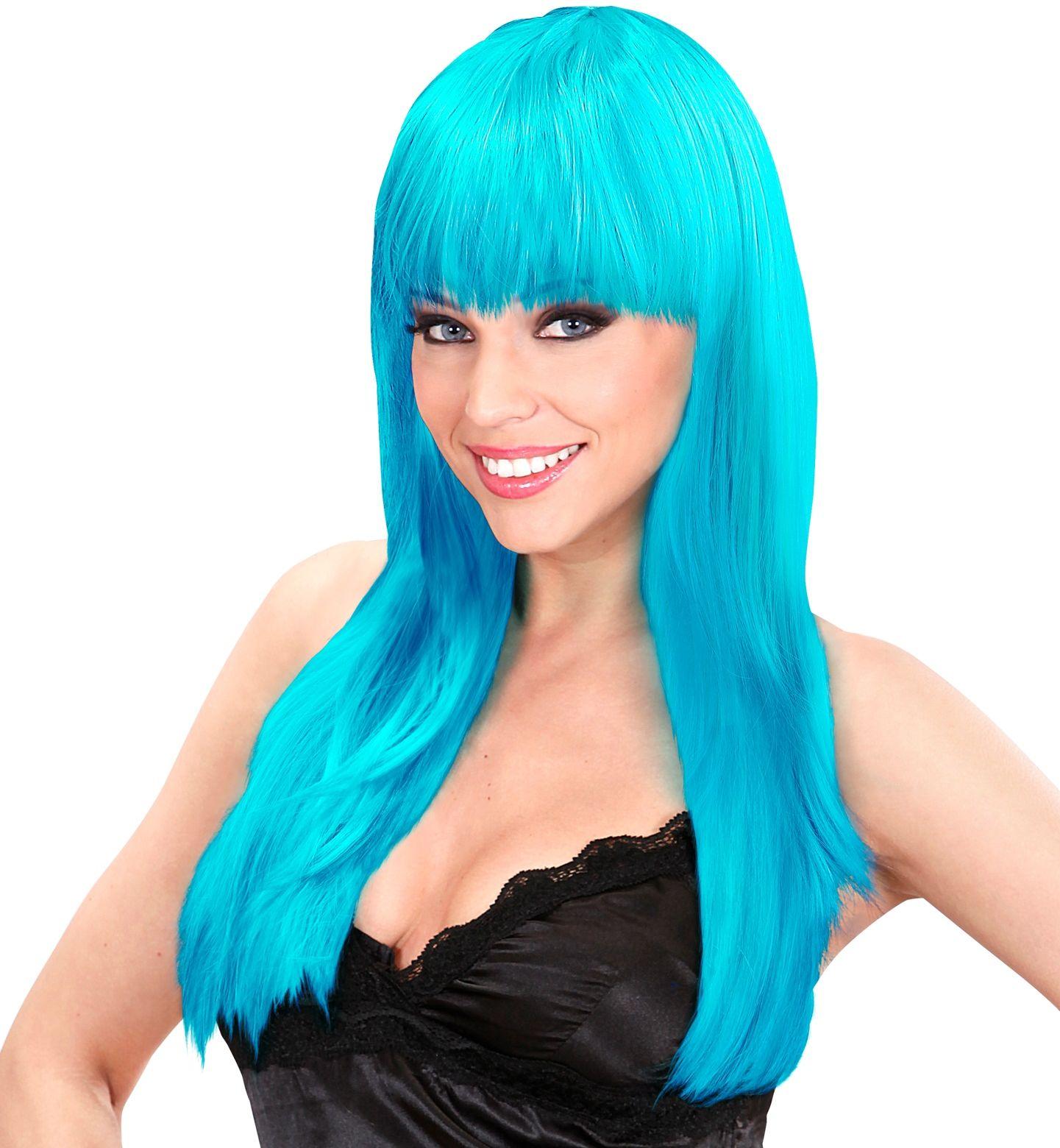 Azuurblauwe lange beauty pruik