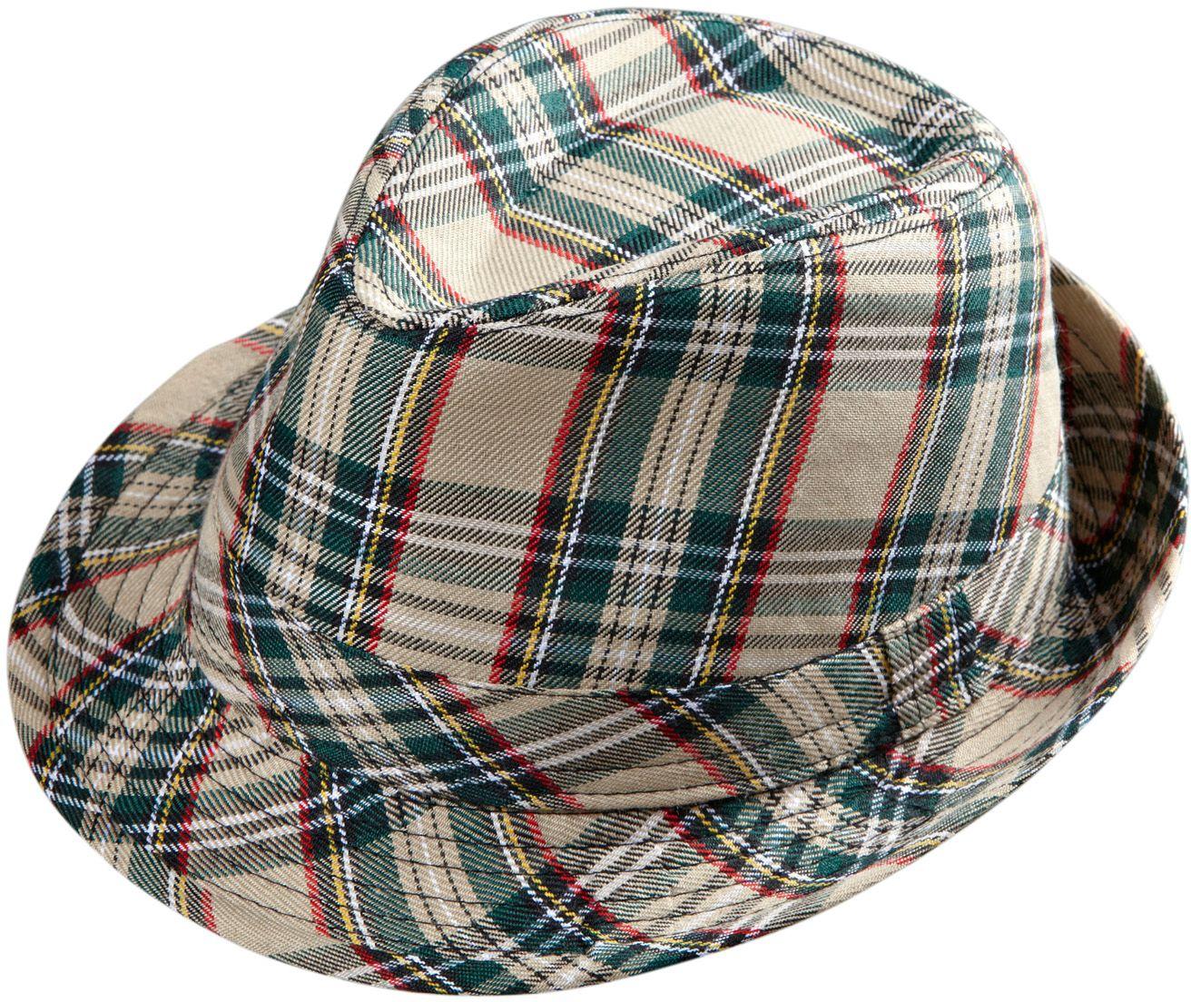 Beige tartan hoed