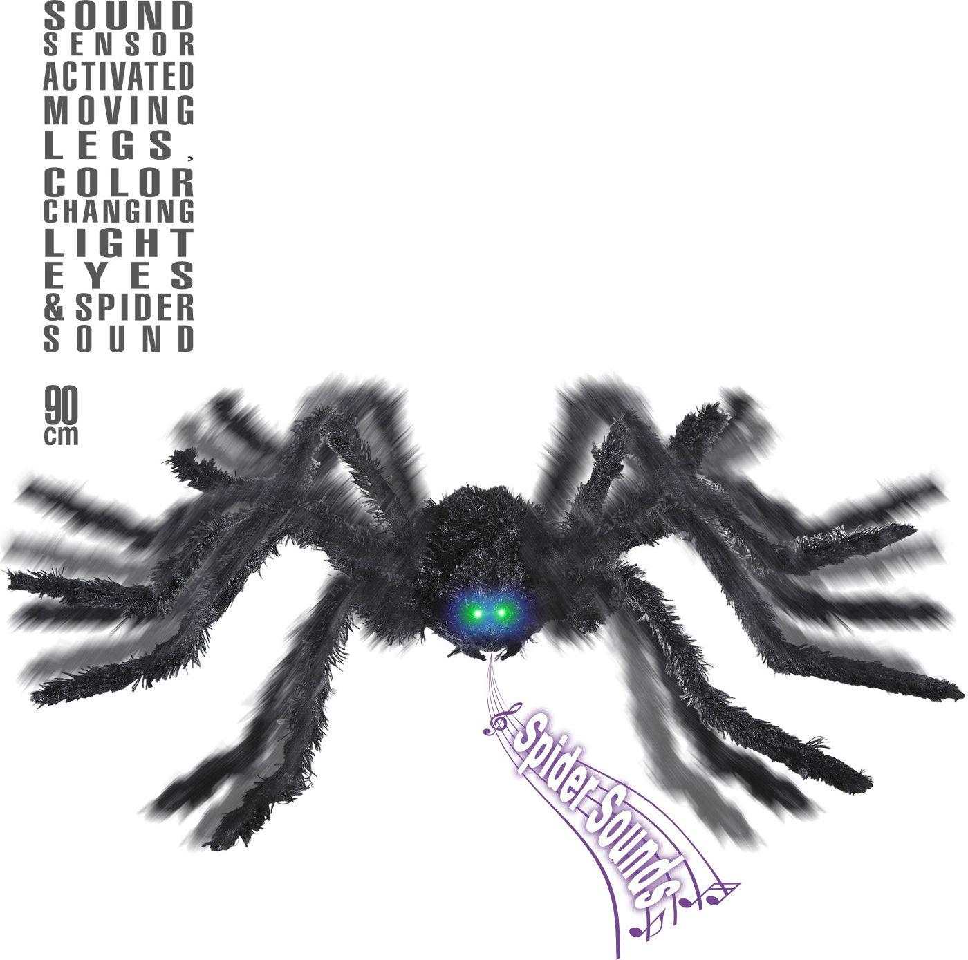 Bewegende spin met lichtgevende ogen en geluid