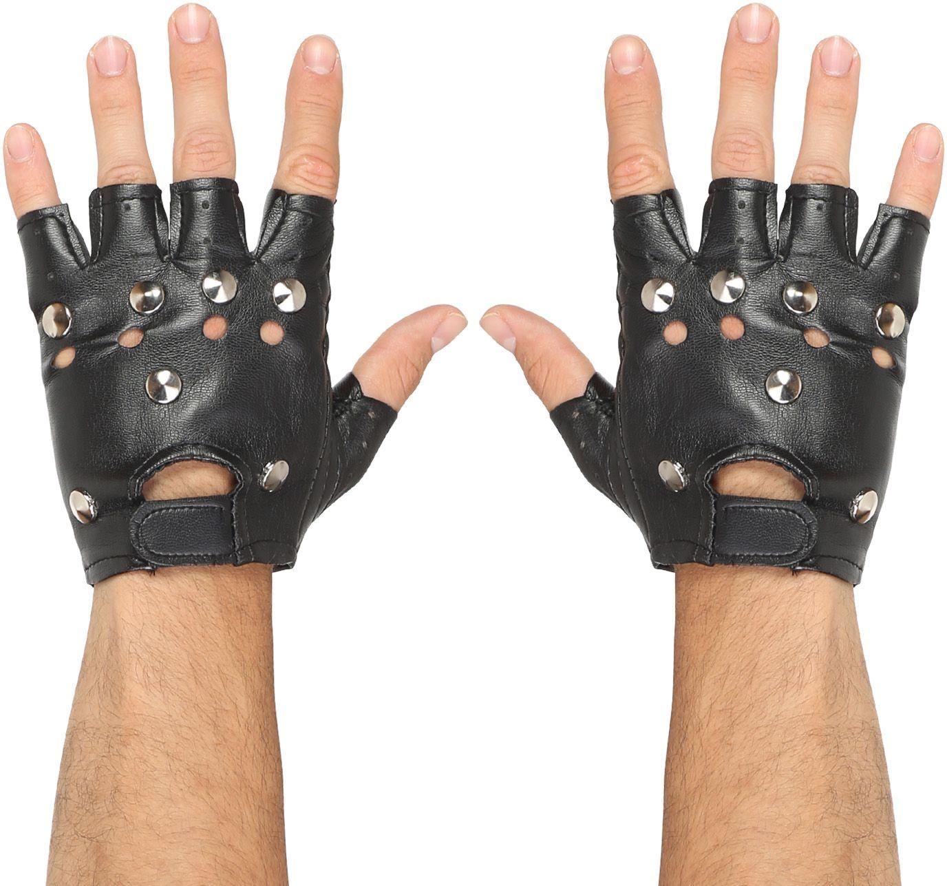 Biker handschoenen lederlook