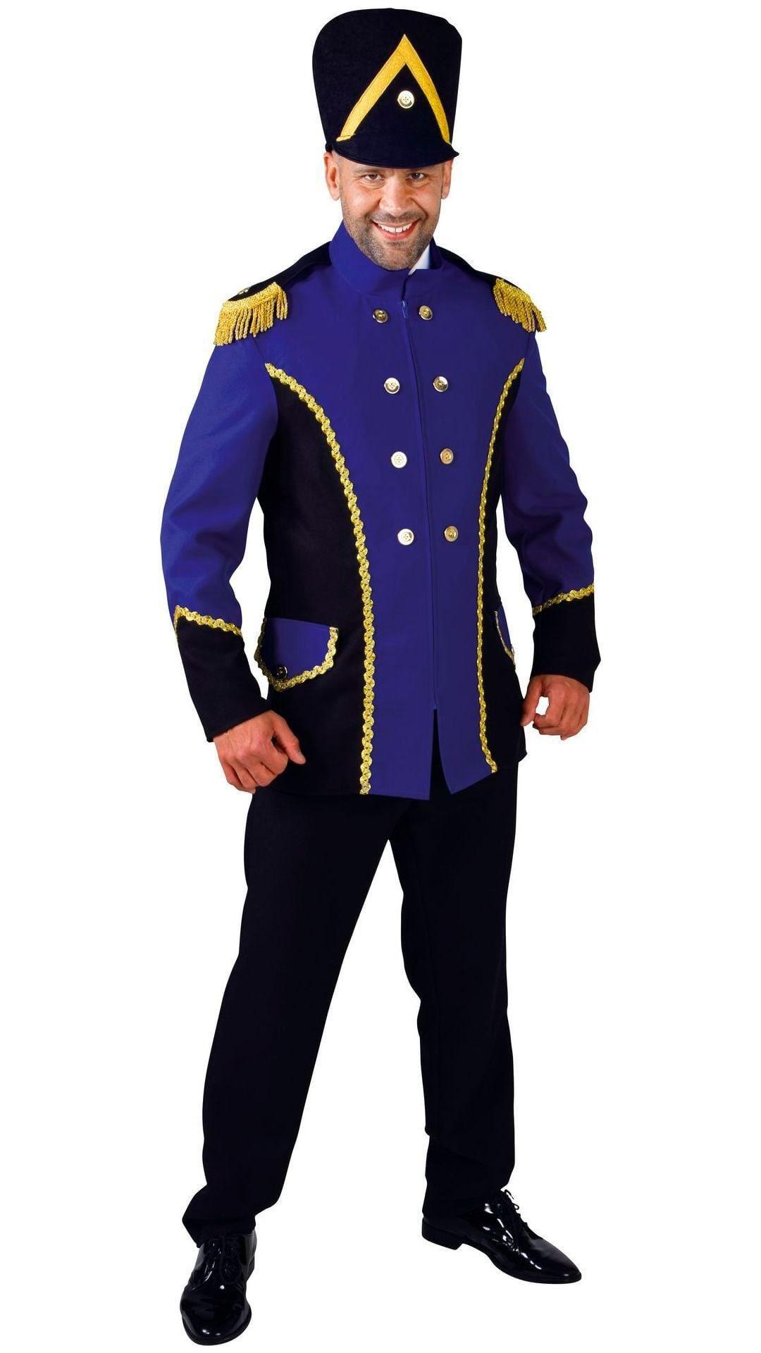 Blauw fanfare kostuum mannen