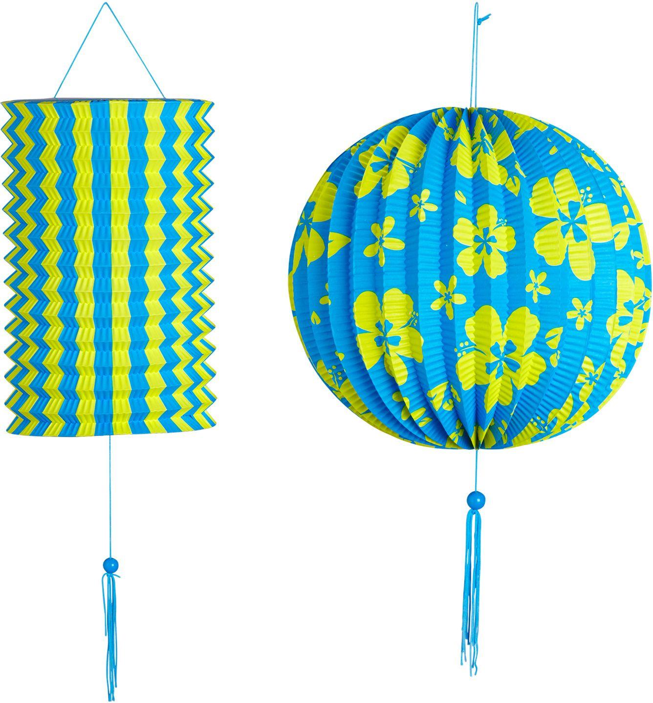 Blauw gele papieren bal met lampion