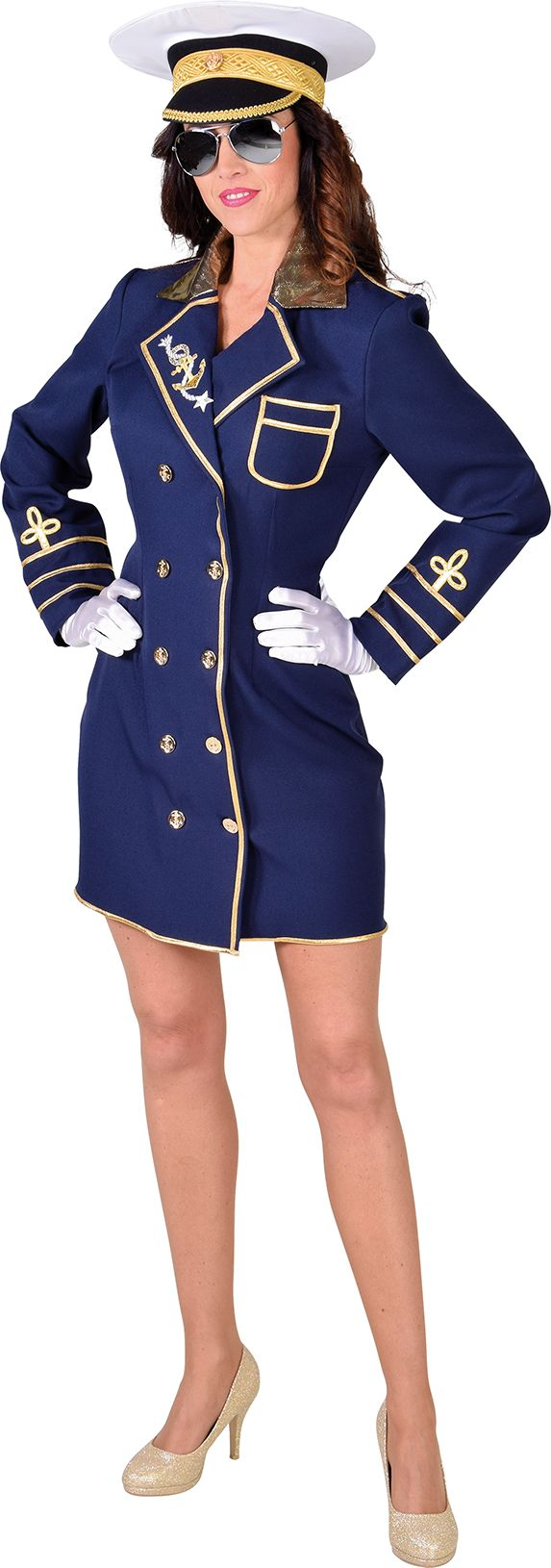 Blauw kapiteinsjurkje vrouwen