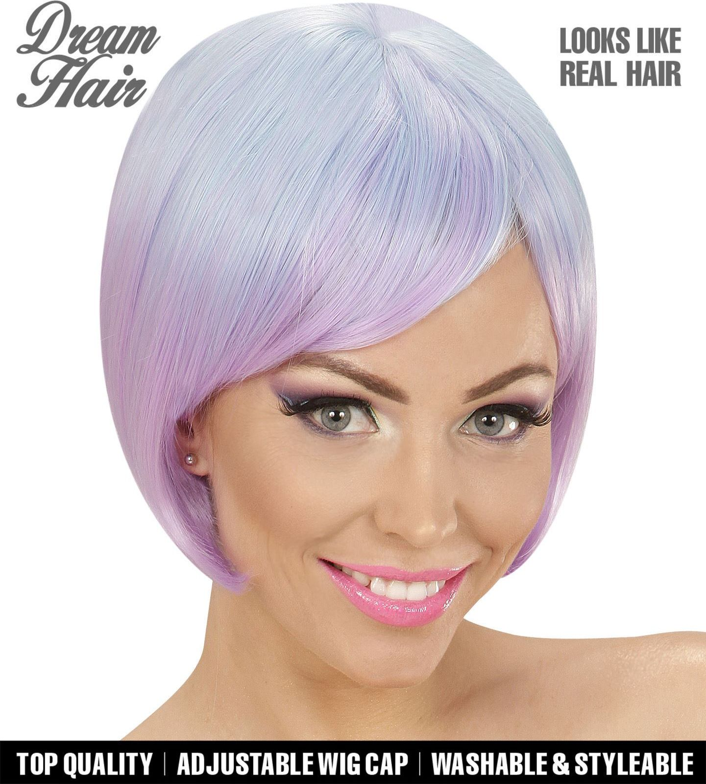 Blauw paarse korte dames pruik