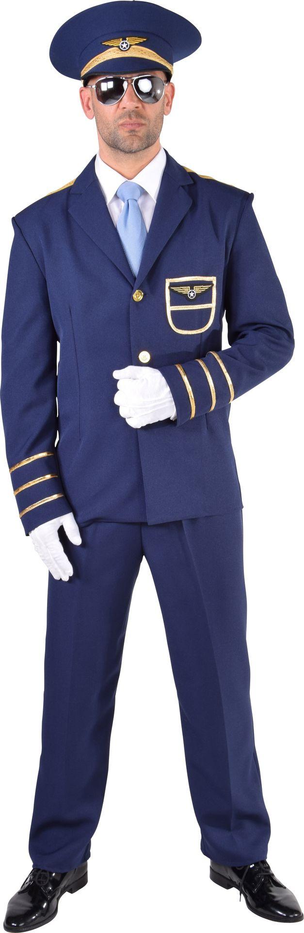 Blauw piloten kostuum heren