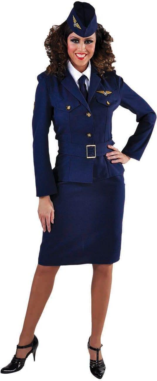 Blauw piloten kostuum vrouw
