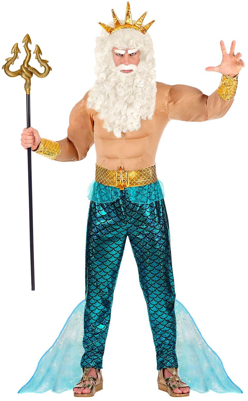 Blauw Poseidon kostuum heren
