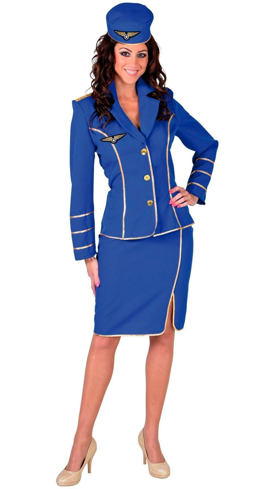 Blauw stewardessen pak vrouwen