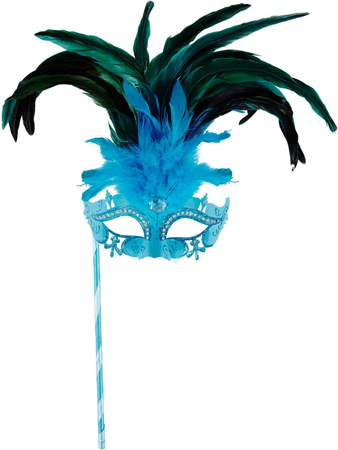 Blauw venetiaans masker op stok