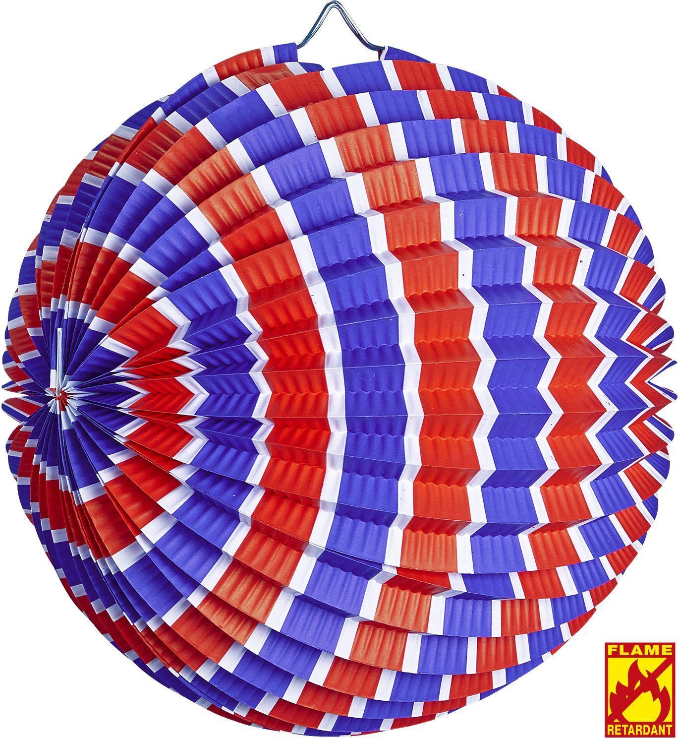 Blauw wit rood gestreepte decoratie bal