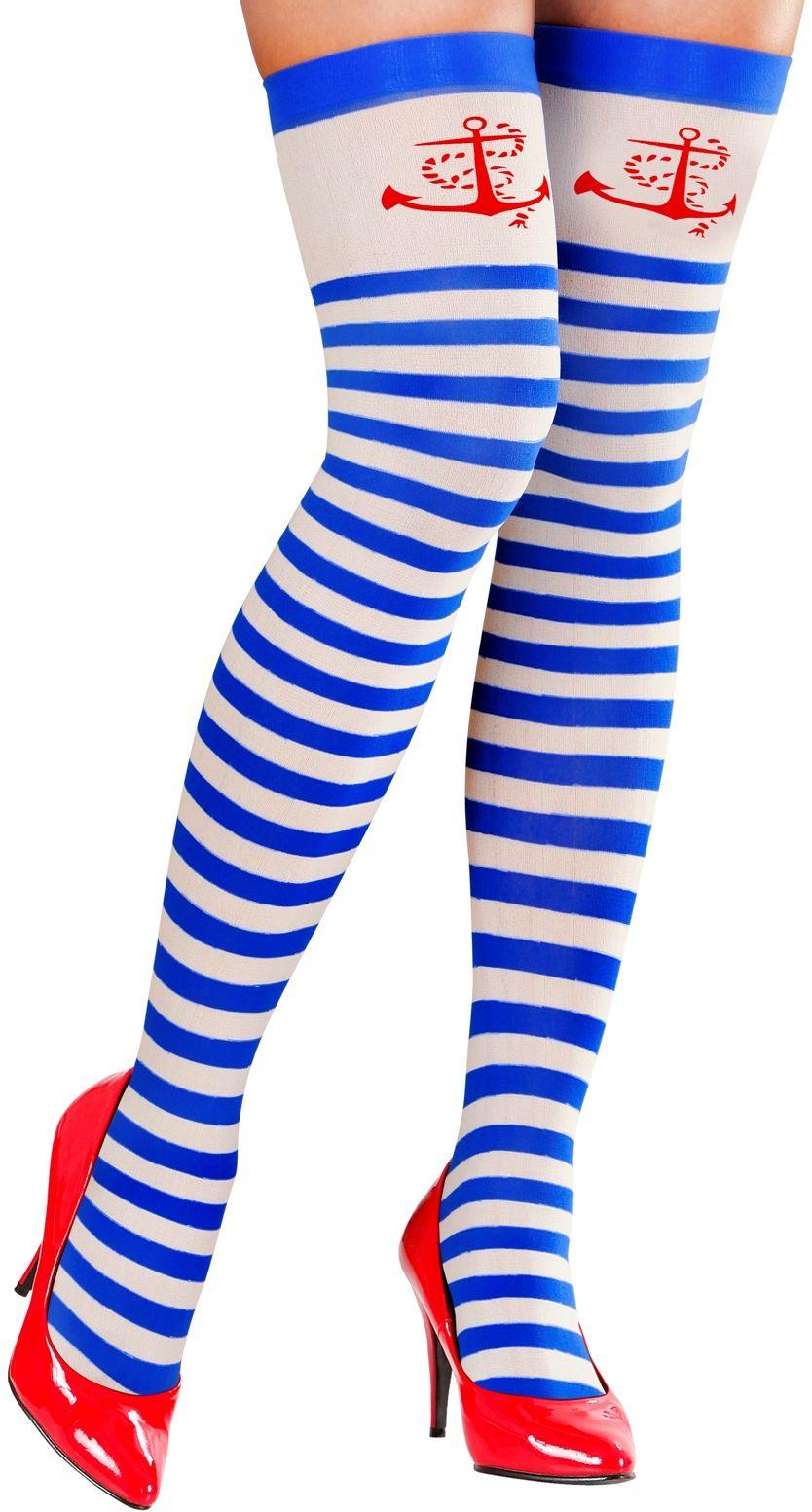 Blauw witte matroos knie kousen