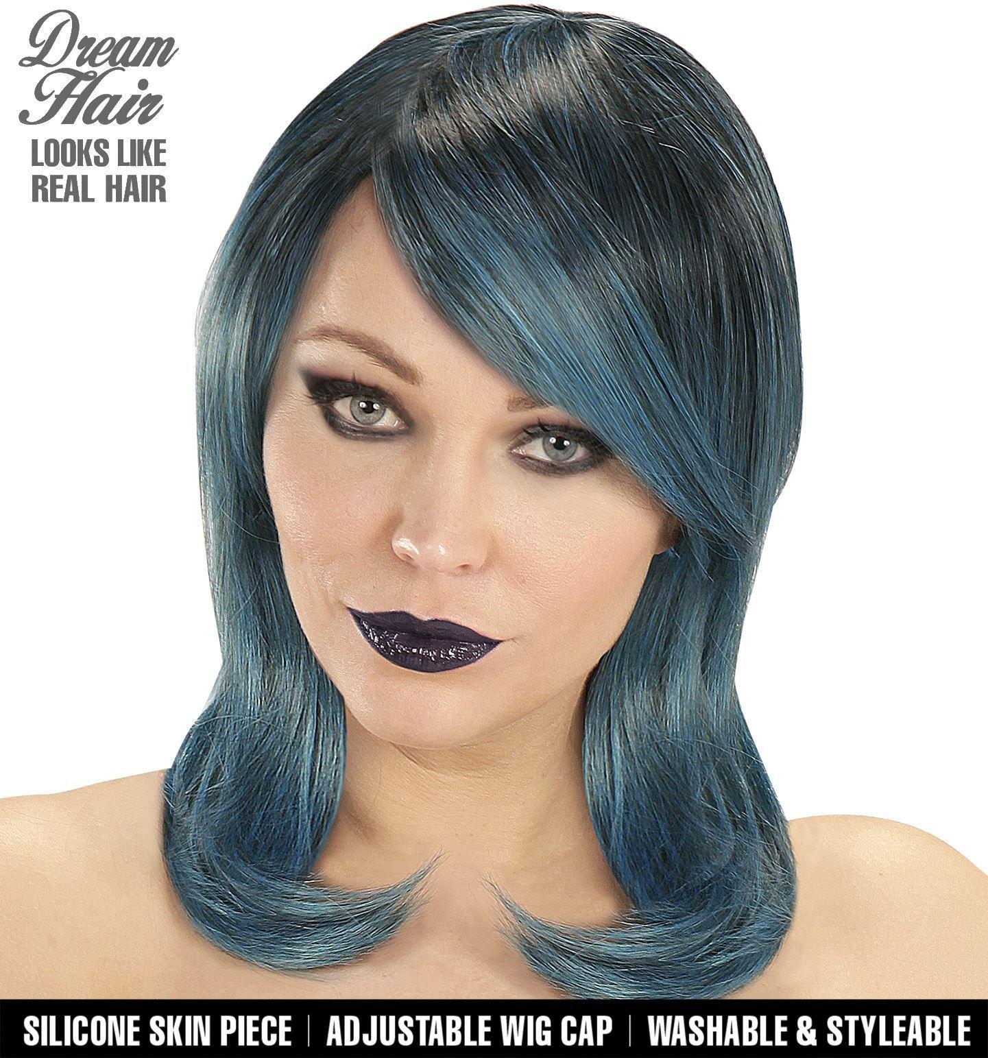 Blauw zwarte pruik
