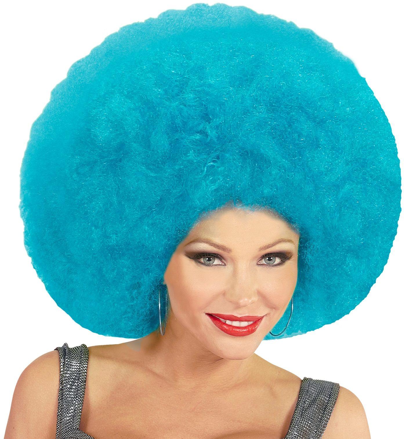 Blauwe afro pruik extra groot