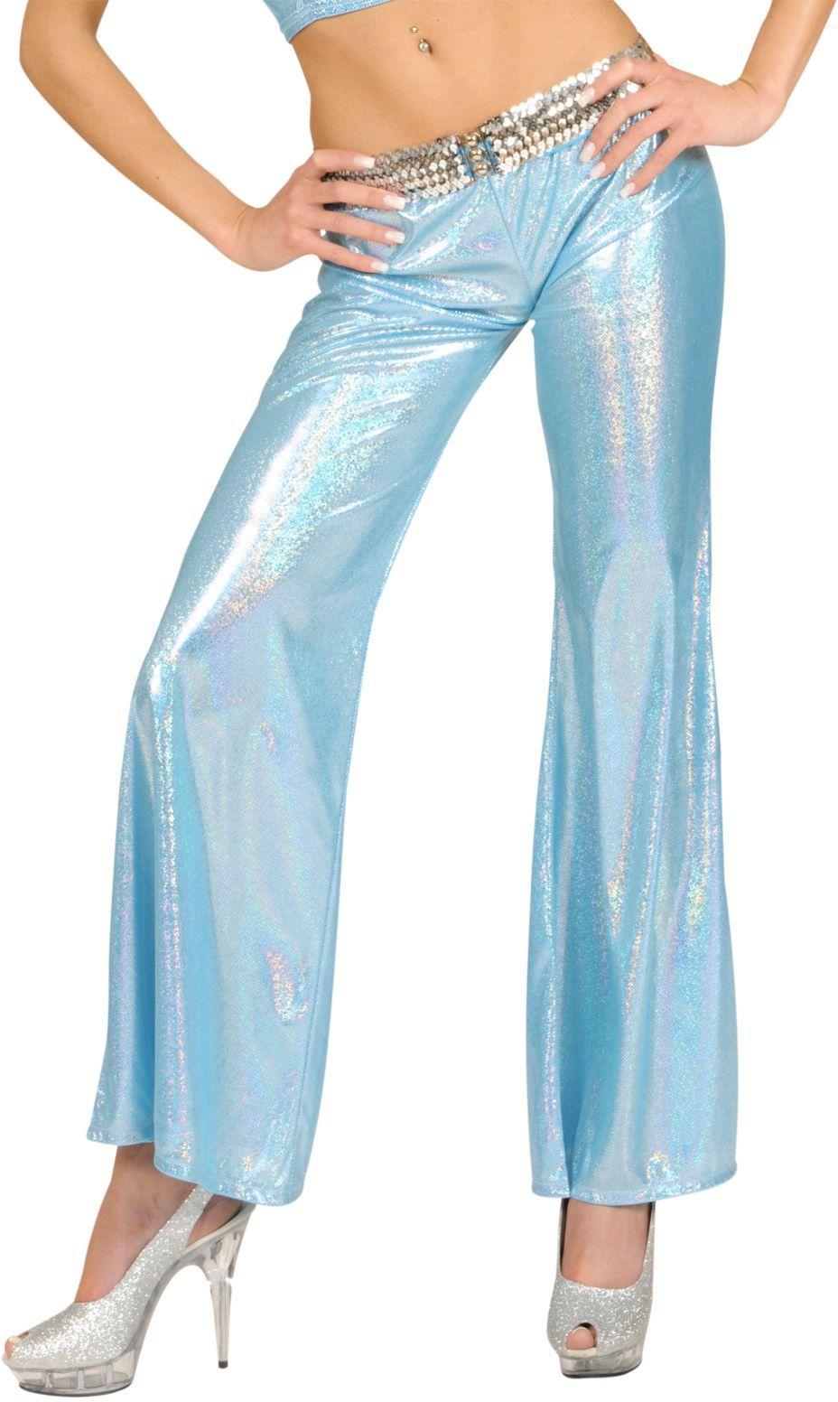 Blauwe holografische disco broek