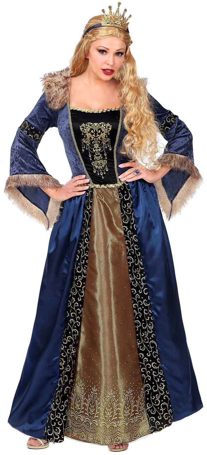 Blauwe koninginnen jurk middeleeuwen