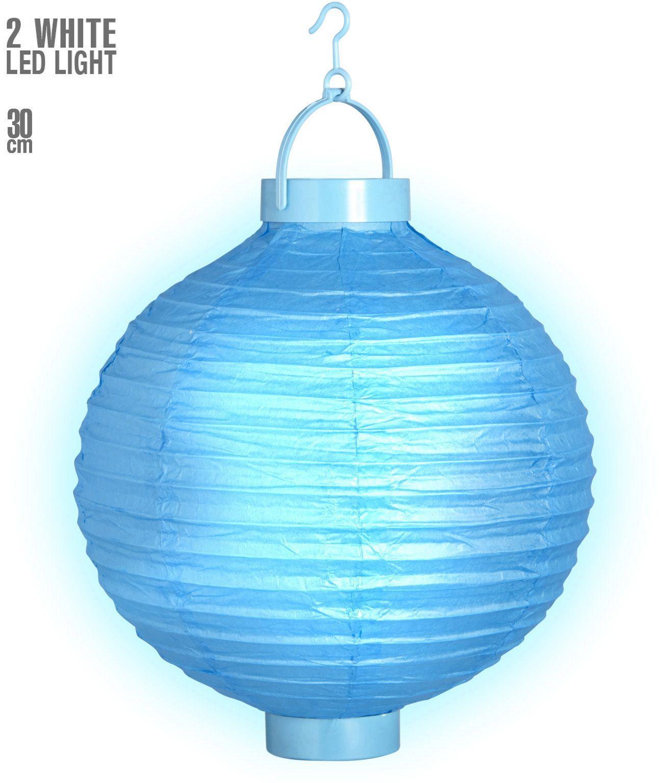 Blauwe lampion met 2 witte LED lichten