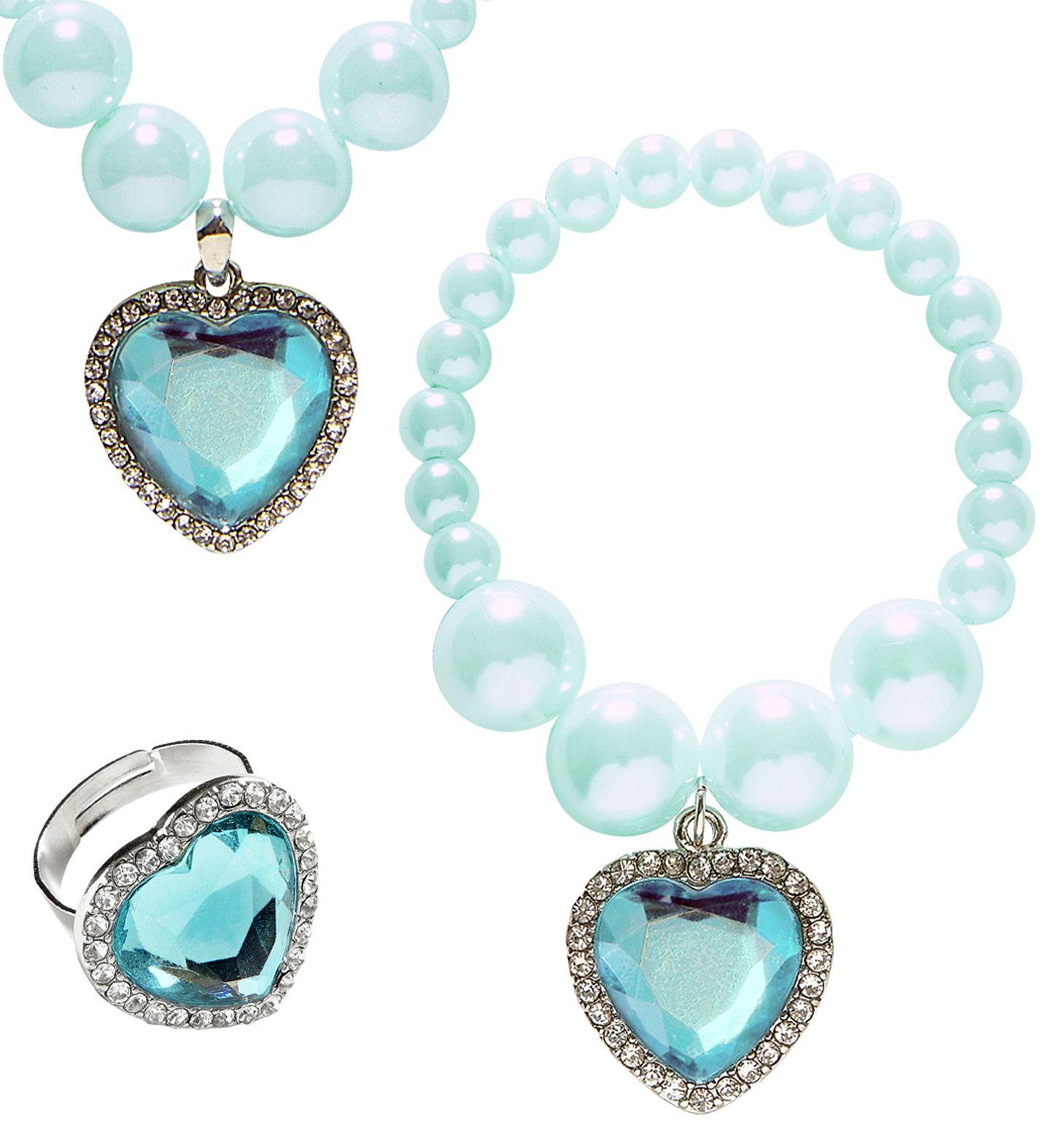 Blauwe parel sieraden met hartjes