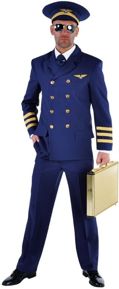 Blauwe piloten outfit heren