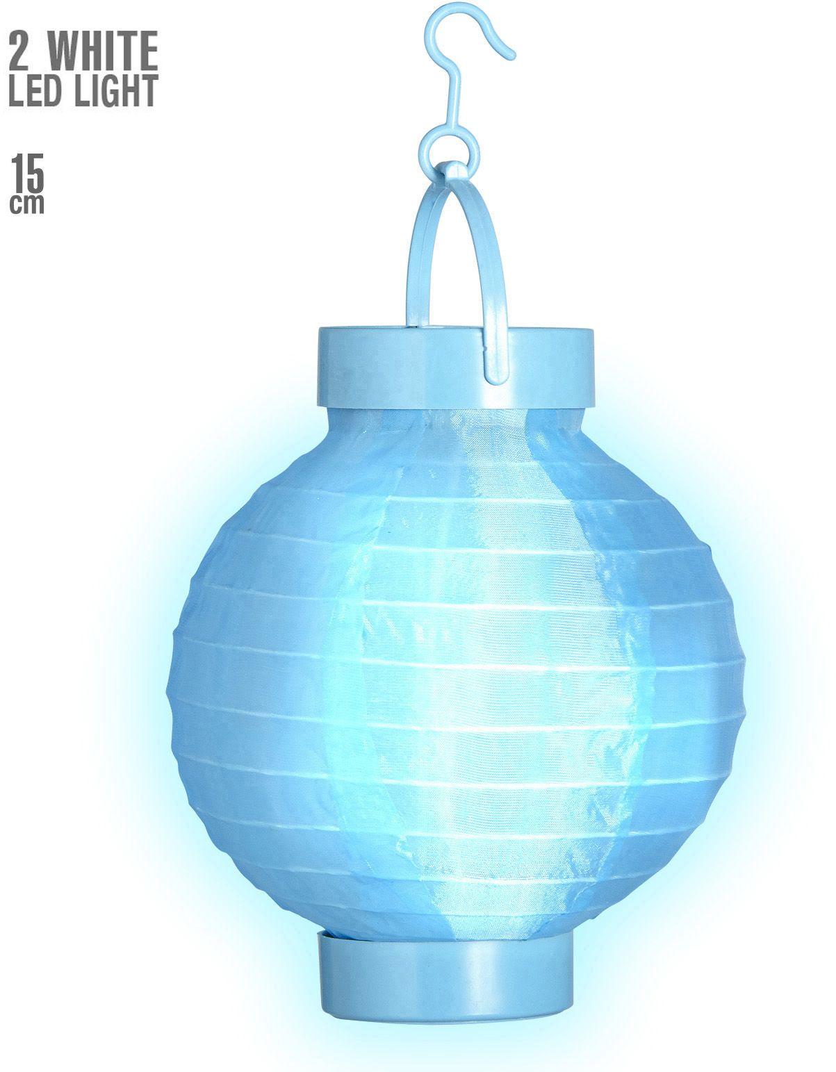 Blauwe stoffen lampion met 2 witte LED lichten