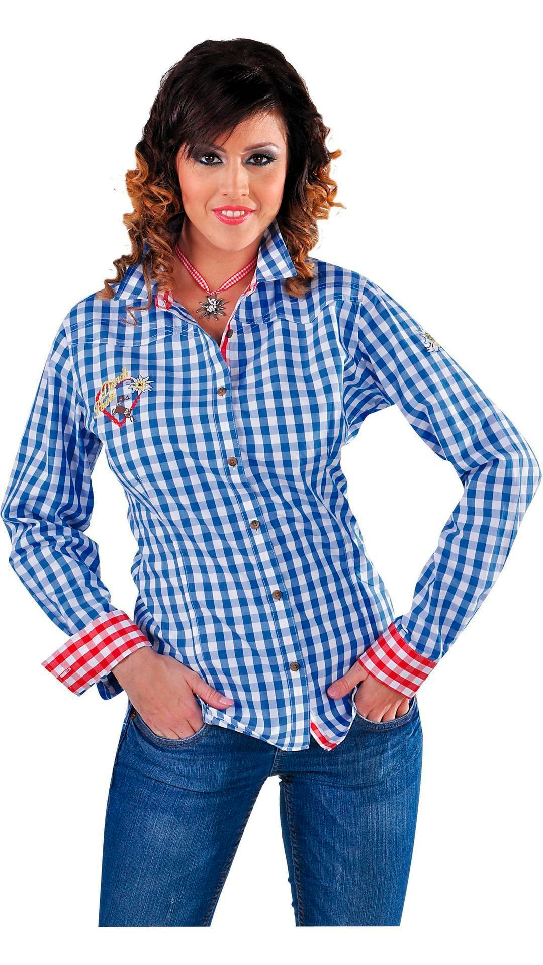 Blauwe tiroler blouse vrouw