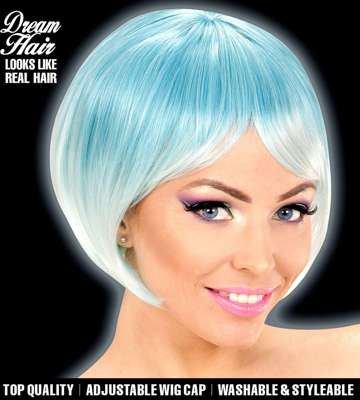 Blauwe turquoise korte dames pruik