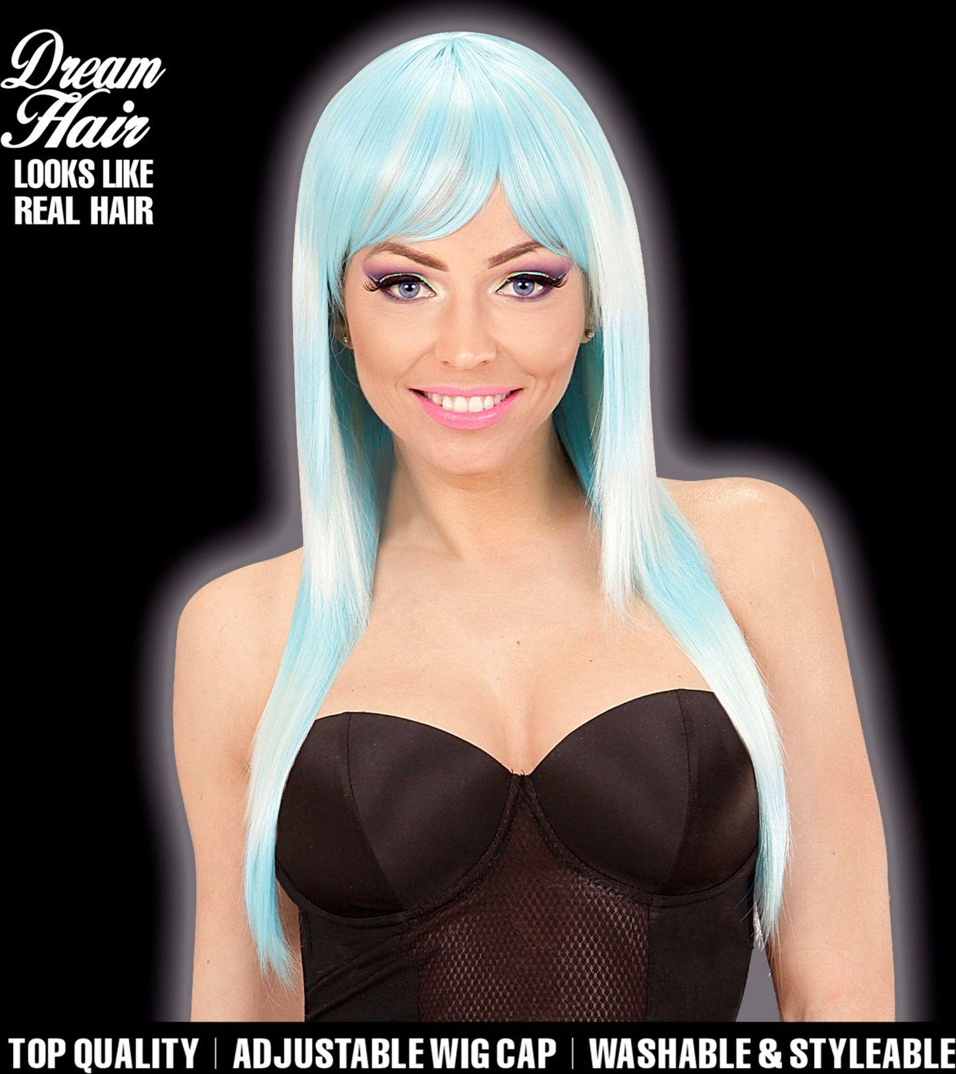 Blauwe turquoise lange dames pruik