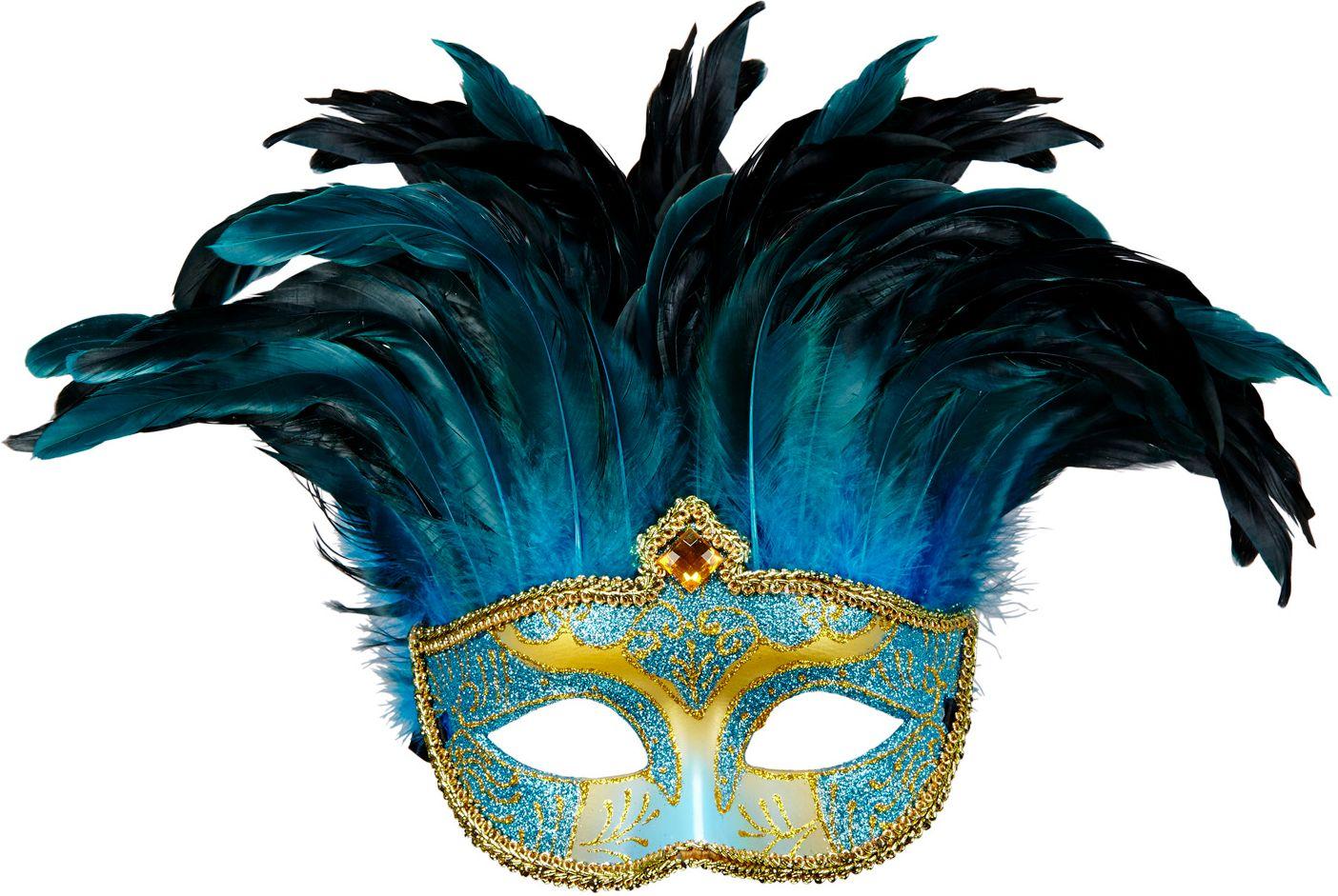 Blauwe venetiaanse gravin oogmasker