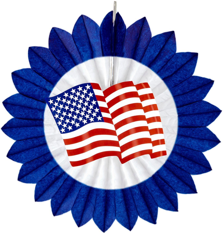 Blauwe waaier met amerikaanse vlag